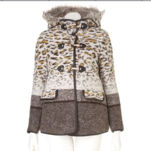 Topshop Leopard Hooded Winter Coat sz 2